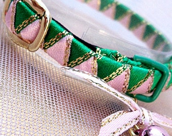 Small Kitten Collar Green Pink and Gold edged
