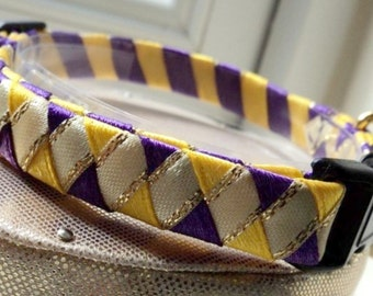 Breakaway Safety Cat Collar in Purple Yellow and Cream