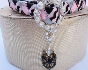 Cat Collar Pink designer with diamante style buckle