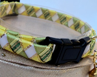 Breakaway Cat Collar Green and Yellow Tartan Effect
