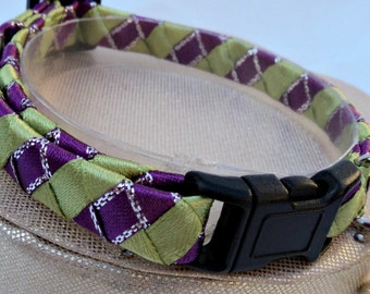 Breakaway Cat Collar Purple and Lime Green Candy Stripe