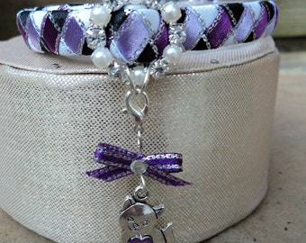 Cat Collar Purple and White with Kitty Cat Charm