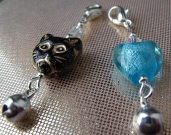 Cat Collar Charm x 2 Black and Blue