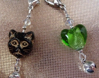 Cat Collar Charms x 2 Black and Green