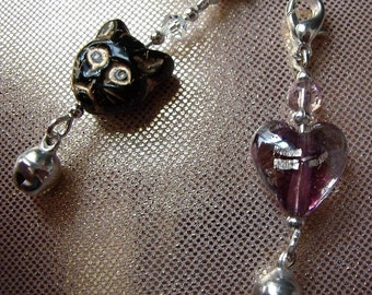 Cat Collar Charms x 2 Black and Amethyst