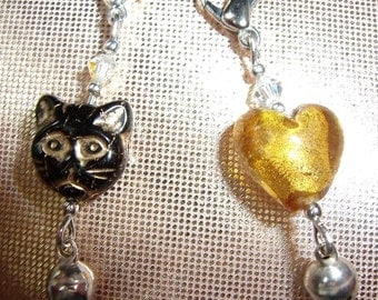 Cat Collar Charms x 2 Black and Yellow