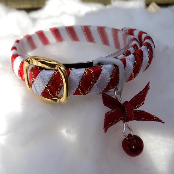 Tiny kitten collar Red and White Candy Cane