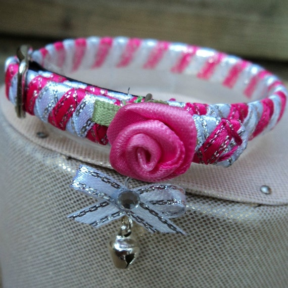 Pink Kitten Collar with white Contrast and Elegant Pink Rose