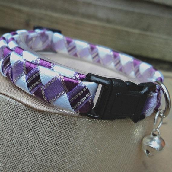 Cat Collar Breakaway Purple Tartan Effect