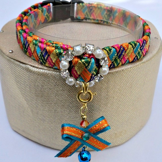 Designer Cat Collar Breakaway in Harlequin Colours
