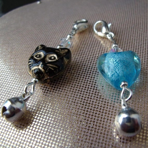 Cat Collar Charm x 2 Black and Blue