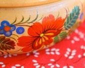 Reserved for Mehrlitch Vintage Urkrainian Wooden Petrykivka Candy Bowl Handmade