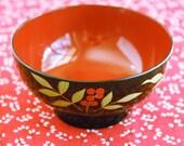 Reserved for Mehrlitch  Candy Bowl Vintage Urkrainian Petryakivka Handmade Black Red
