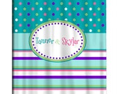 Personalized Shower Curtains- Custom designs your choice - Dots-Chevron or Stripes Multi Color