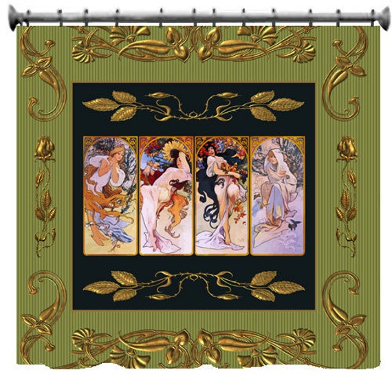 Four Seasons Custom Shower Curtains - Art rendition by Alphonse  Mucha