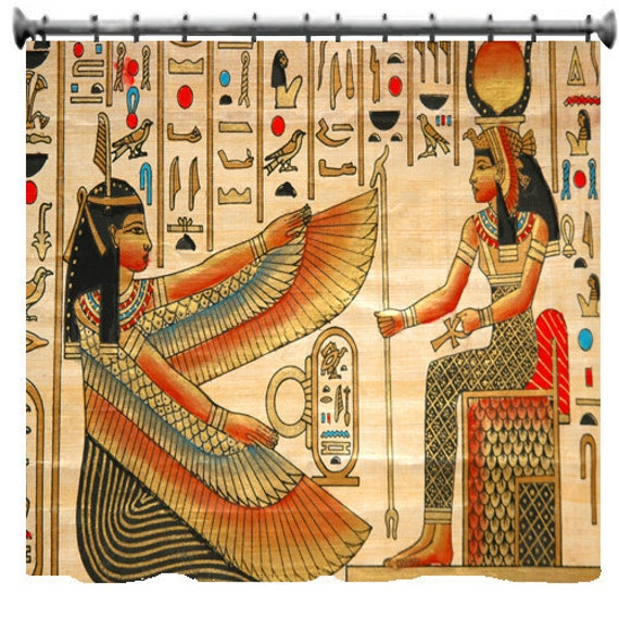 Egyptian theme designer style shower curtain custom for Egyptian bathroom designs