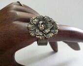 Vintage Repurposed Button Poppy Flower Ring, brass, Free Shipping, Kalan Ring