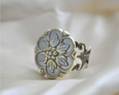 Ice Blue Gold Trimmed Metal Flower Ring, FREE SHIPPING ETSY, Yvette Ring