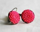 Fuchsia Flower Earrings, Hot Pink Fuchsia Raspberry Chrysanthemum Flower Earrings, Dangle Earrings
