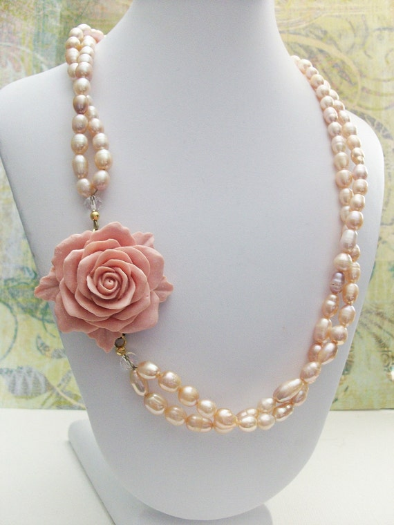 Pink Freshwater Pearls Double Strand Necklace with Pink Rose, FREE SHIPPING, Sophia Rose Necklace