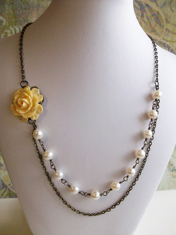 Butter Yellow Rose Flower and White Freshwater Pearls Necklace, FREE SHIPPING, Melena Necklace