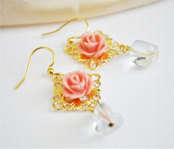 Easter Pink Rose Dangle Earrings, FREE SHIPPING, Carina Earrings, spring