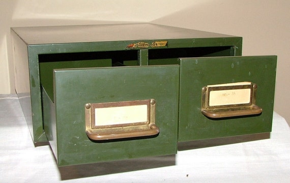 Vintage Army Green Catalog File Metal Desk Cabinet By