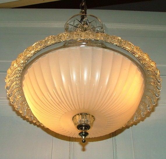 Antique Glass Centerhole Shade Hanging Ceiling Light W Prisms
