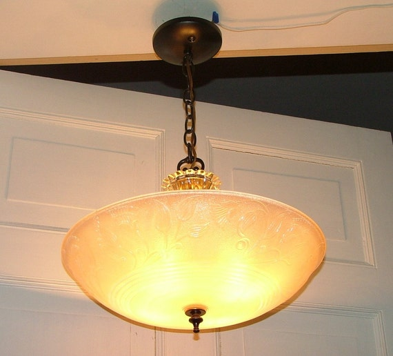 40 39 S Antique Glass Center Post Hanging Ceiling Light Shade