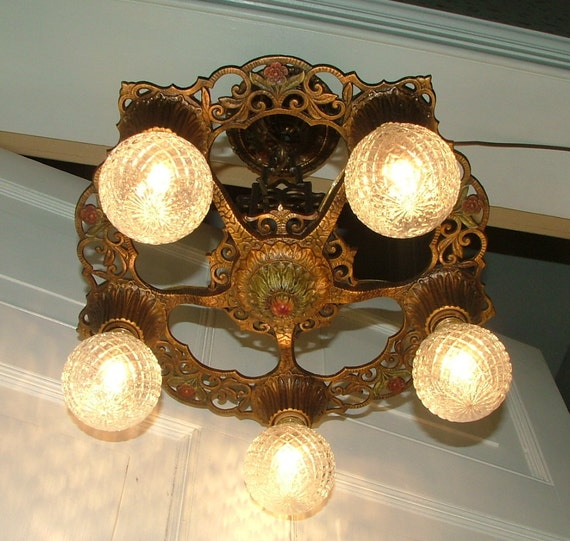 Vintage And Industrial Lighting From Etsy: Vintage Lighting Antique Light Fixture Hanging Art Deco