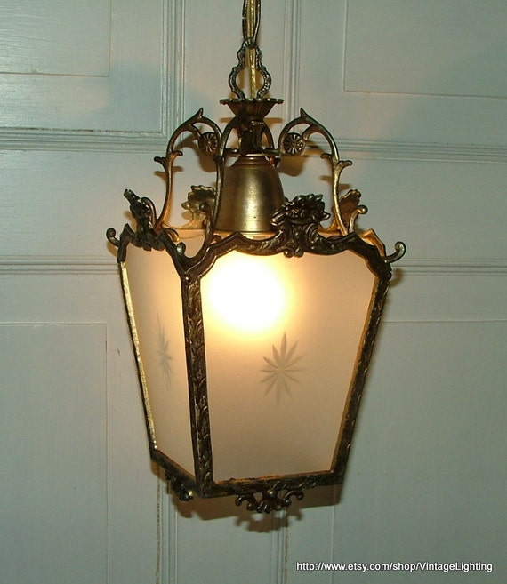 Vintage Hanging Ceiling Light Fixture Brass Pendant Glass Lamp