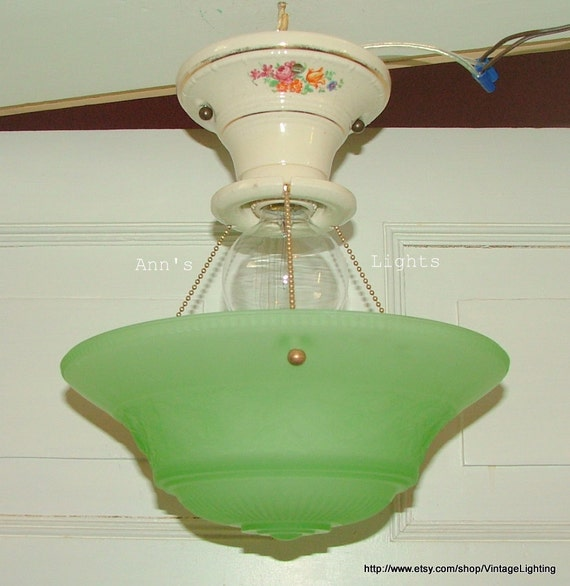 Hanging Lamp With Pull Chain: Antique Vintage Lighting 3 Chain Hanging Ceiling Light: