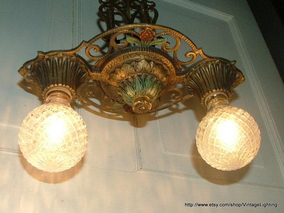 Antique Pendant Light 2 Bulb Hanging Ceiling Lighting Fixture: Art Deco Nouveau
