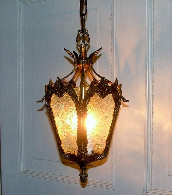 Antique Lighting Vintage Brass Hanging Ceiling Light Lamp Fixture Glass Pendant