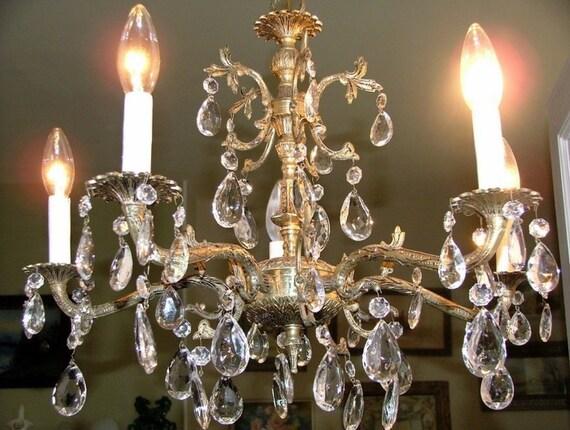 50 Prism Made In Spain Antique Brass Chandelier Light