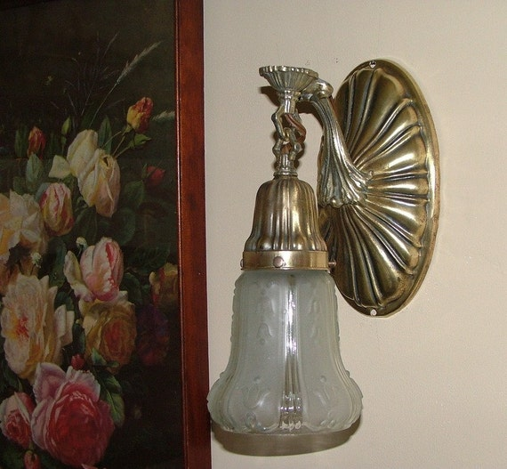 Antique Wall Sconce Glass Shades : Antique Art Deco Brass Wall Light Sconce Fixture Glass Shade