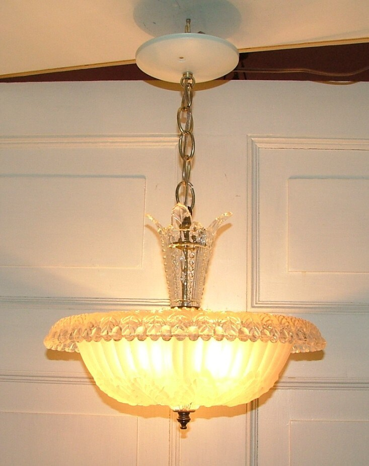 Ceiling Lights Glass Shades : Antique glass center mount ceiling light shade chandelier