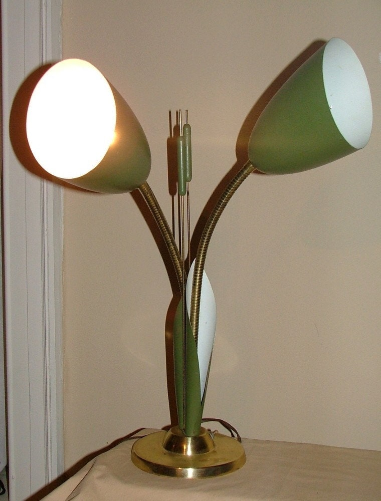 Vintage Light Fixture Retro Mid Century Atomic Cattail Lamp