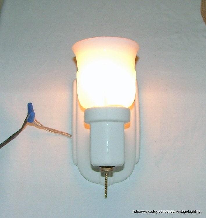 Vintage Art Deco Antique Wall Light Fixture Sconce White