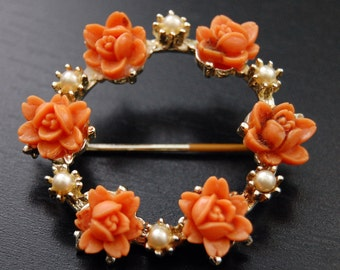 Vintage Rose and Pearl Pin