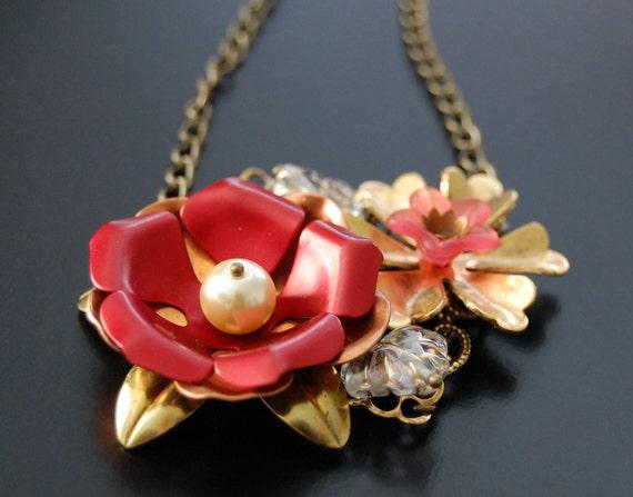 Autumn Romance Vintage Copper and Brass Flower Necklace
