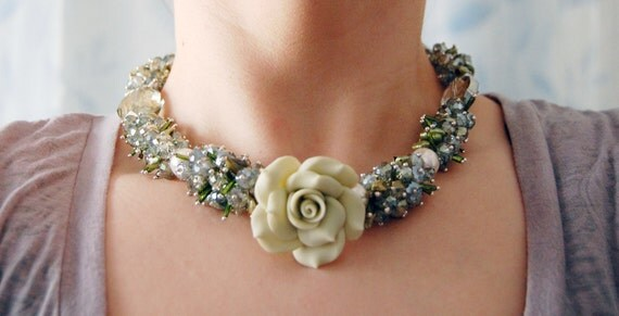 Winter's Ice-Blue and Green Faceted Glass and Crystal Flower Cluster Necklace