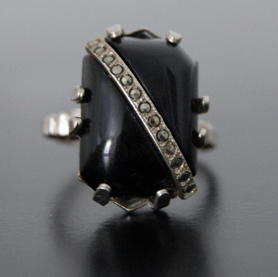 """Vintage """"Onyx"""" and Marcasite Adjustable Ring"""