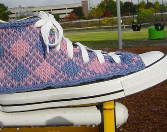 Pink and Blue Argyle Knit Chucks