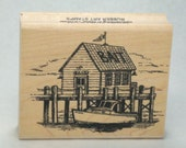Rubber Stamp Bait House Dock Boat