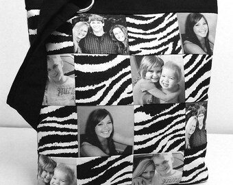 Photo Picture Bag Purse Patchwork Black and White Personalized Gift choice of fabric