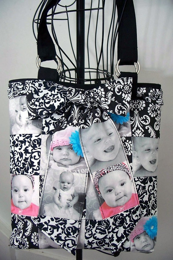 Black and White Photo Patchwork Bag Touched with Color