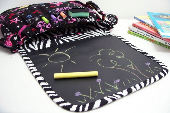 Chalkboard Activity Art Children's Bag in Girls Rock fabric