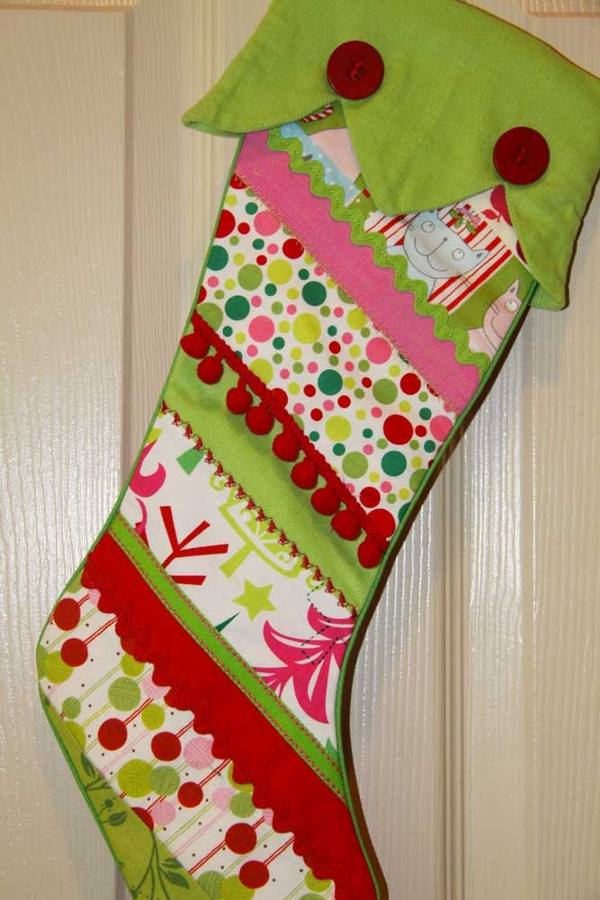 Christmas stocking unique crazy quilted by sewspoiledfabrics