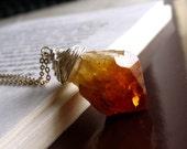 Sun Behind the Rock - Citrine Amethyst Druzy Pendant Necklace